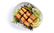 Salmon Satay (Served with Mediterranean Greens)