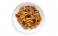 Vegetable Udon with Black Garlic Sauce