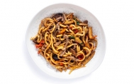 Beef Udon with Black Garlic Sauce
